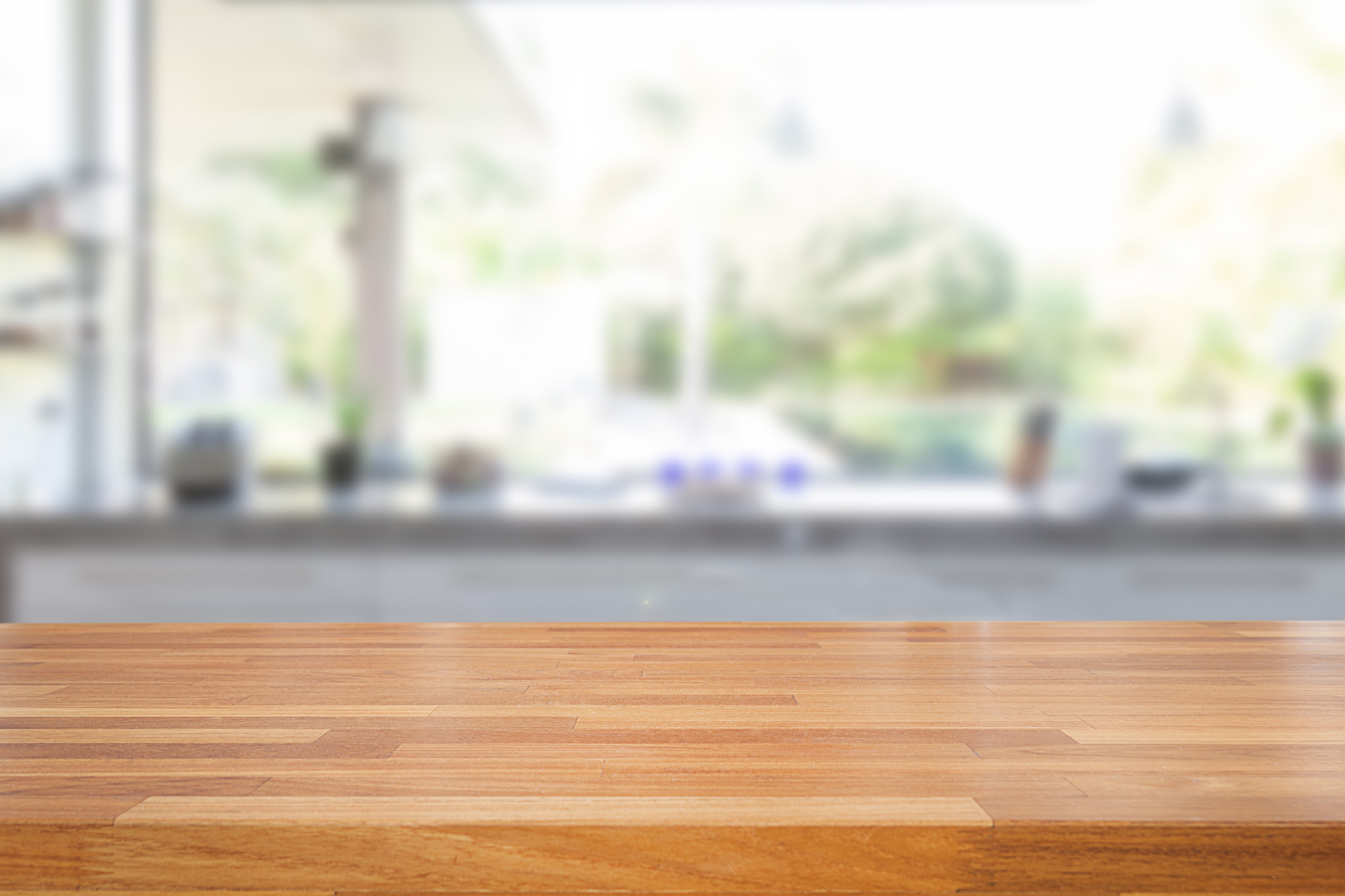 Empty Wooden Table And Blurred Kitchen Background My Cms