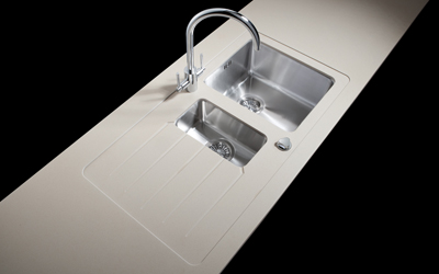 maia's 1.5 bowl duo sink module is edged front and back, reversible left or right handed. Pre drilled for tap and pop-up waste. Will fit into 600mm base cabinet. Includes brushed stainless steel main bowl and separate small bowl, basket strainer, pop-up waste, fitting clips and sealant.